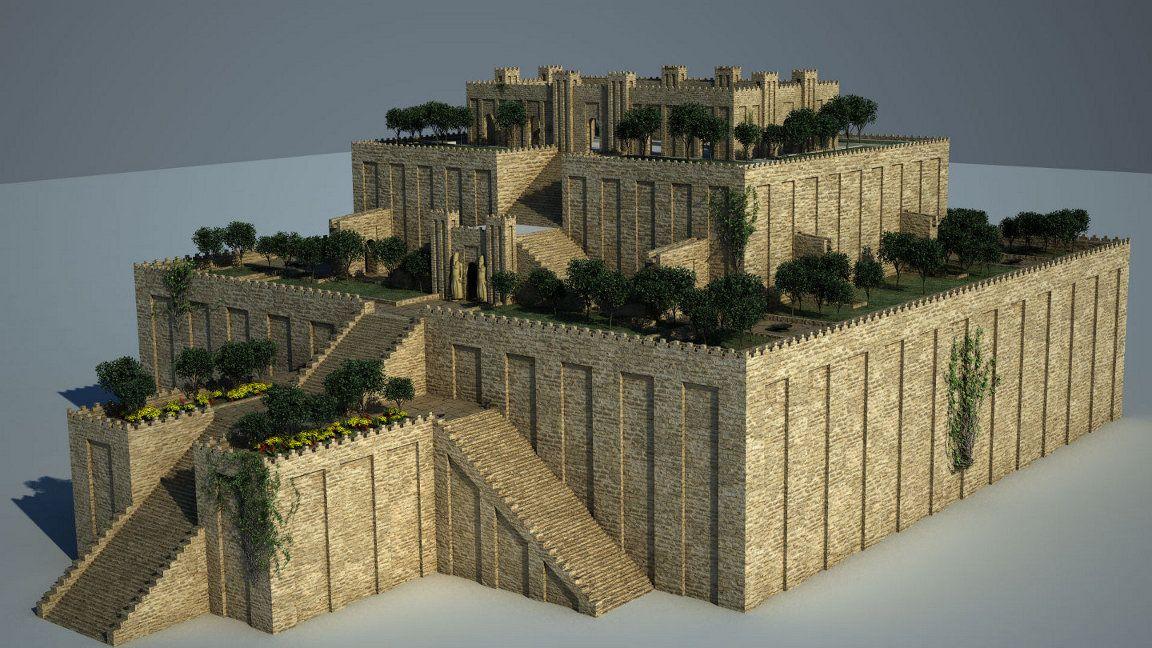 Flowers In The Hanging Gardens Of Babylon Flower Gardens Gardens Of Babylon Hanging Garden Ancient Babylon