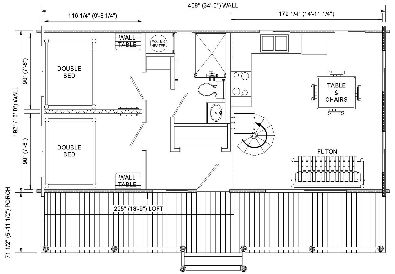 floor plans for cabins 16 u0027x34 u0027 with loft plus 6 u0027x34 u0027 porch side