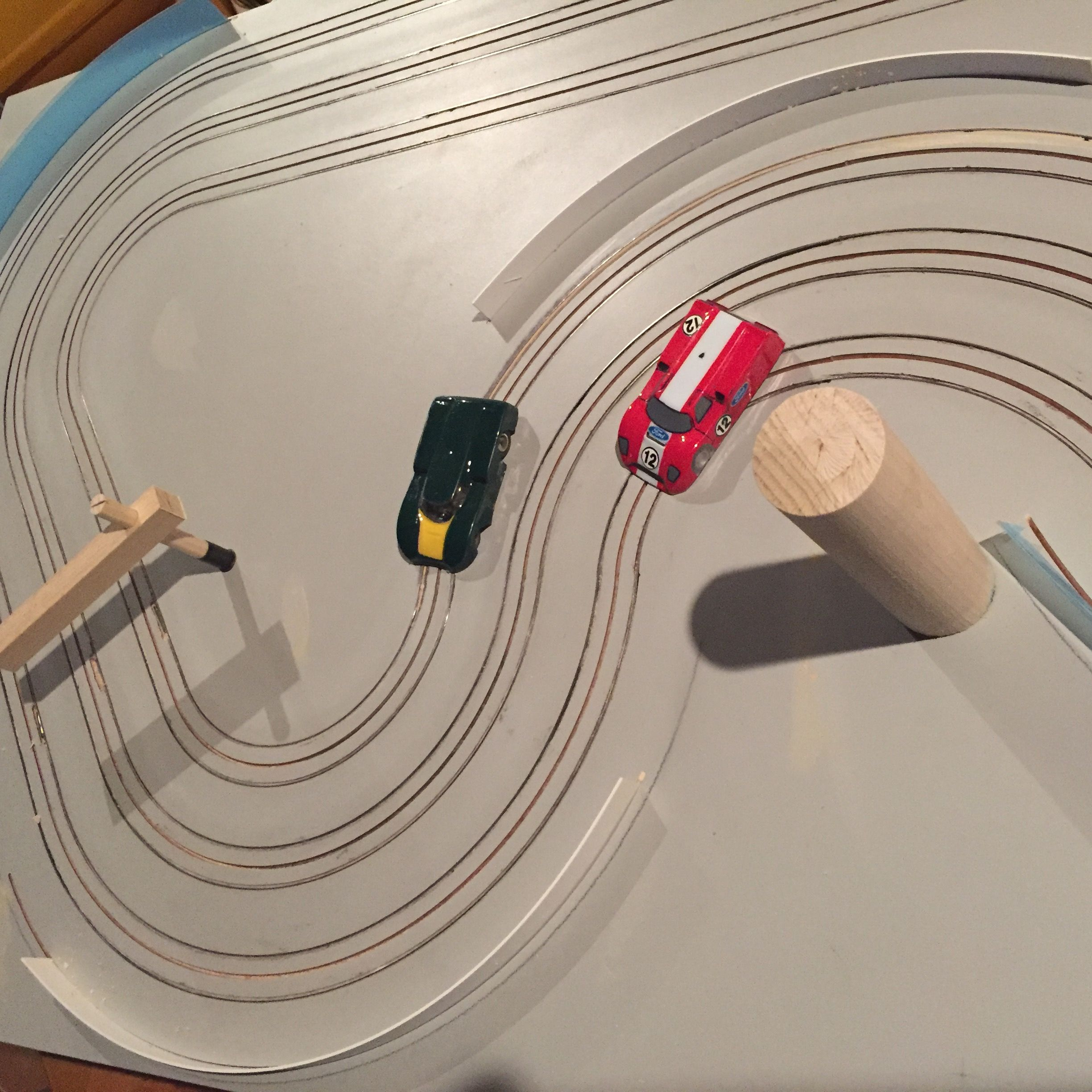 small resolution of 3 lane small 2x4 routed ho slot car track