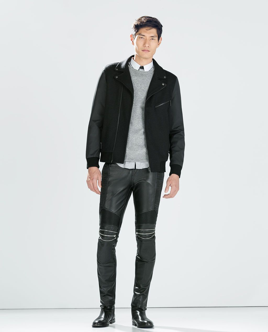79ad8f42 ZARA - MAN - SYNTHETIC LEATHER TROUSERS WITH ZIPS. Find this Pin and more  ...