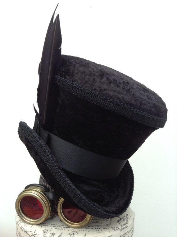 Black velvet Victorian Mad hatter raven top hat
