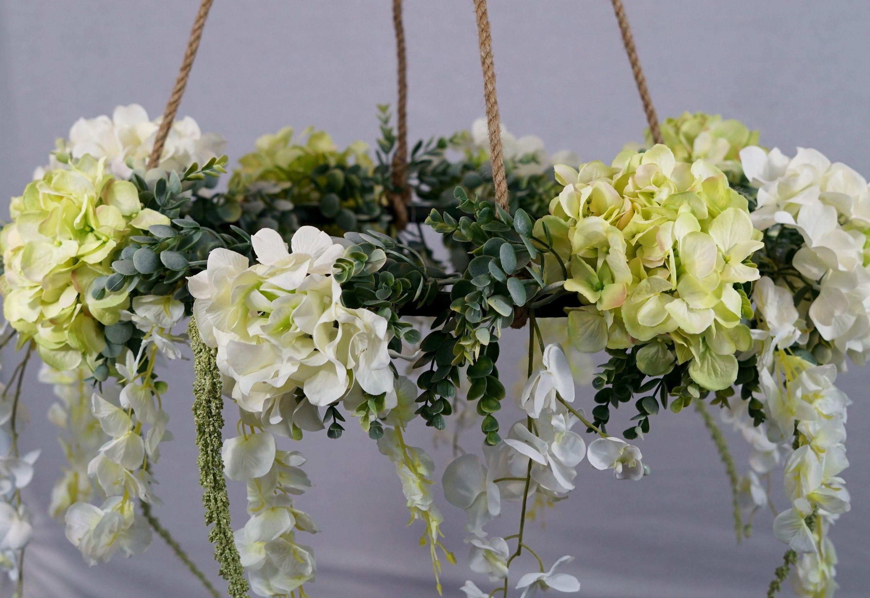 Diy hula hoop romantic floral canopy flower wall wedding
