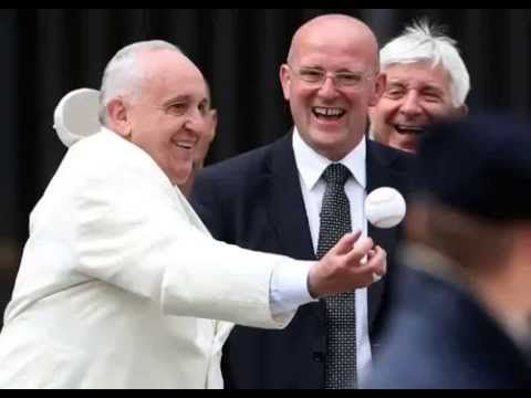 Pope Francis jumps to catch a baseball at St. Peter's Square