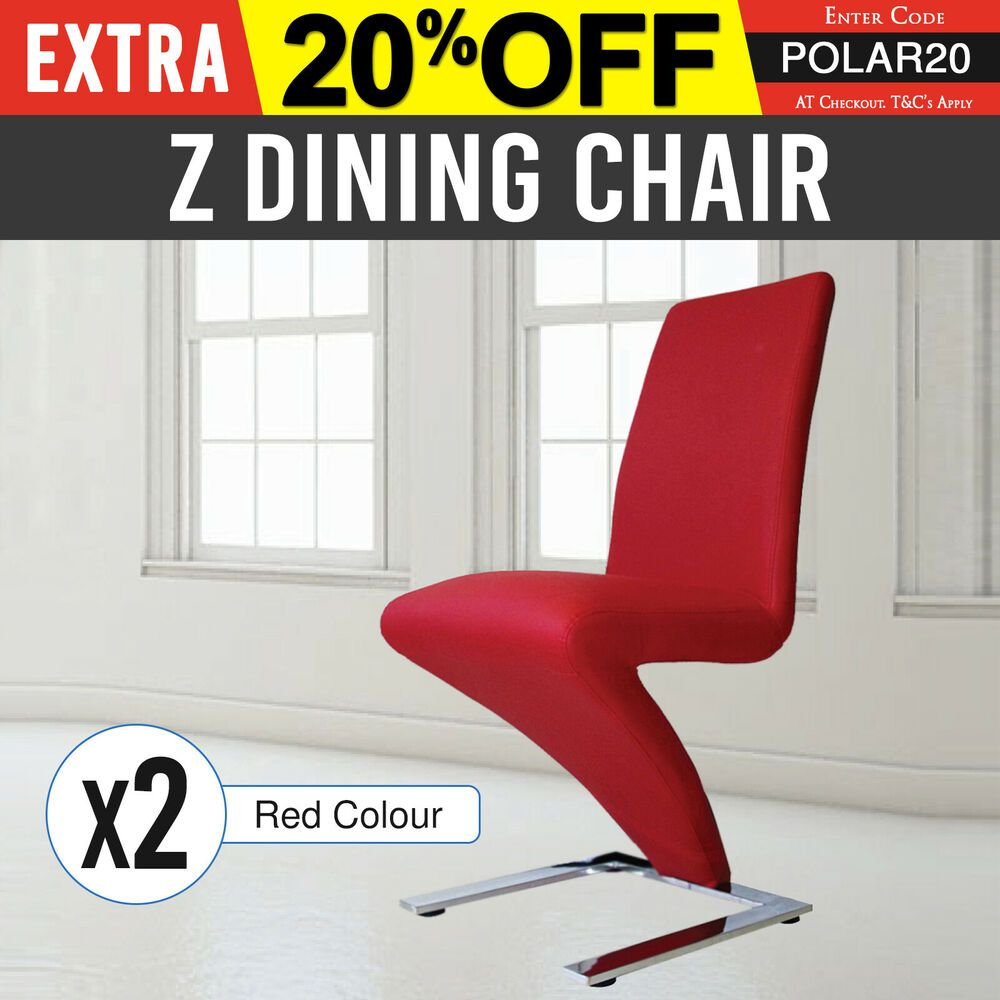 Dining Chair Red 2x Modern Z Shaped Stainless Steel Base Faux