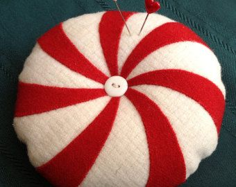 Pin Cushion, wool applique, peppermint, red, cream, gift, Christmas, sewing supplies