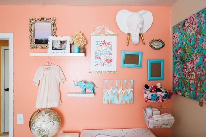 Coral and Teal Nursery, Elephant Nursey, Baby Girl Nursery, Pink ...