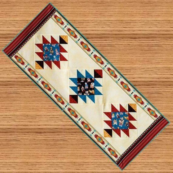 Wonderful SOUTHWEST Table Runner Pattern   B J Q 120     Printable Download Pdf  E Pattern Diy Free Shipping Digital Pattern Terra Cotta Teal Turquoise