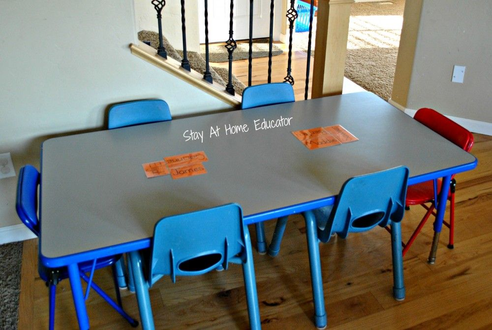 Preschool table set-up for small in home preschool - Stay At Home Educator