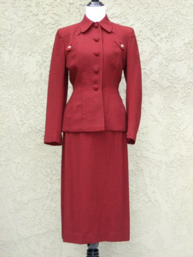 Stunning Vintage 1940's WWII Era Pin Up Girl Burgundy Wool Suit | eBay