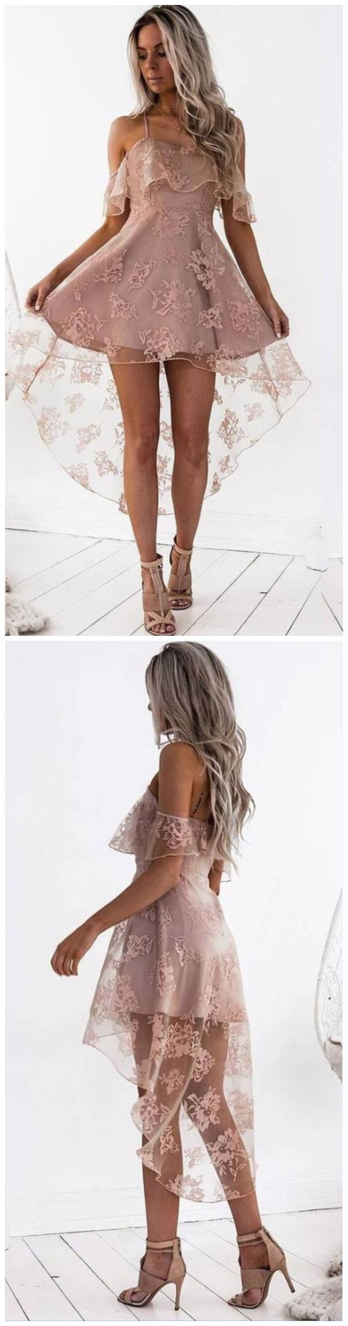 05ac0500e8d0b Off Shoulder High Low Dusty Pink Lace Homecoming Dresses 2018, CM440 ...