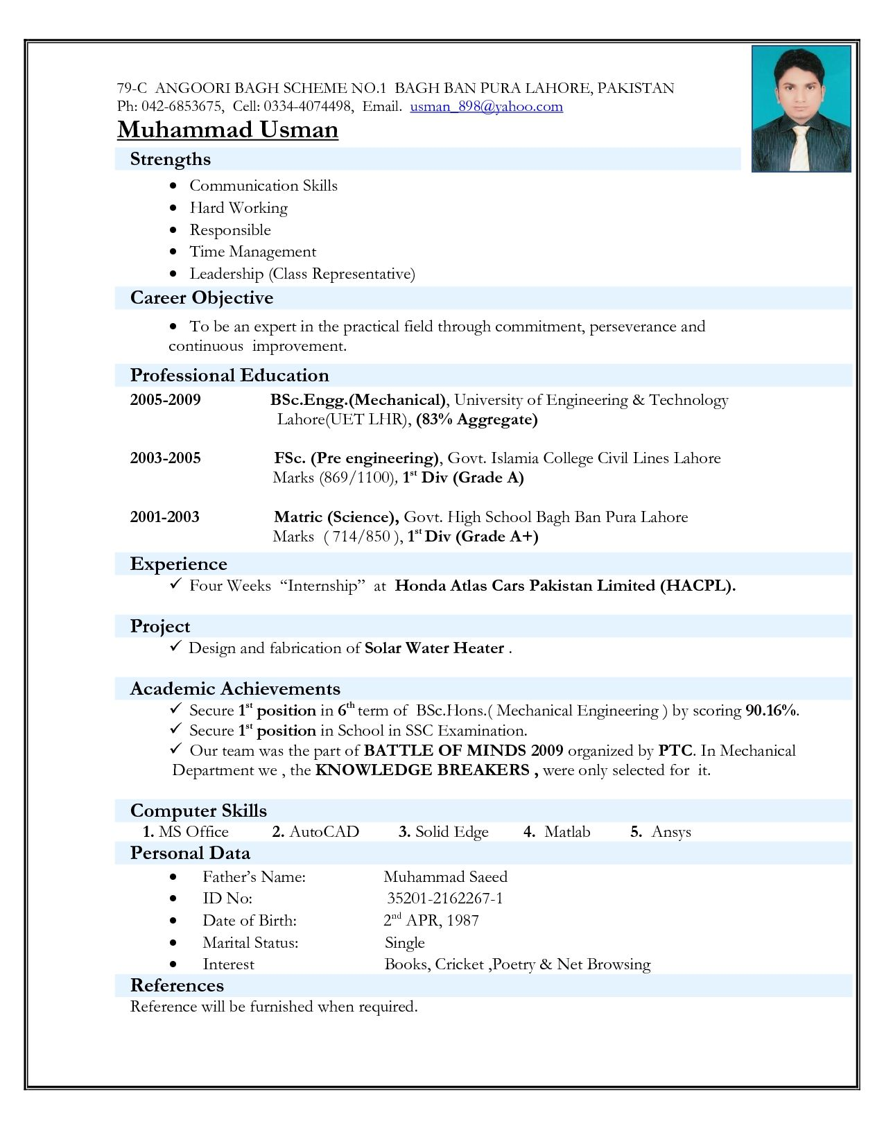 Best Cv Format For Freshers Mechanical Engineers Resume