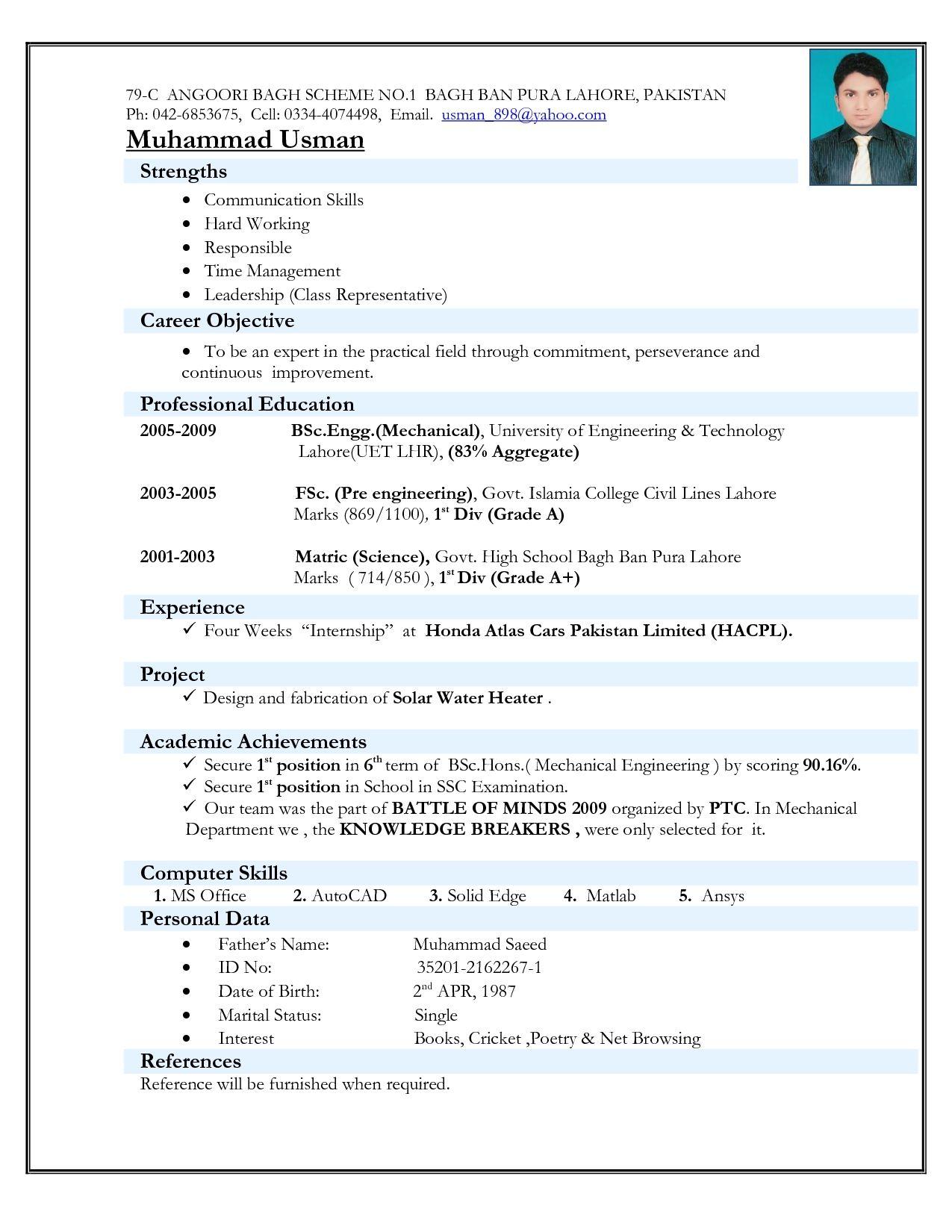 model resume for mechanical engineer freshers