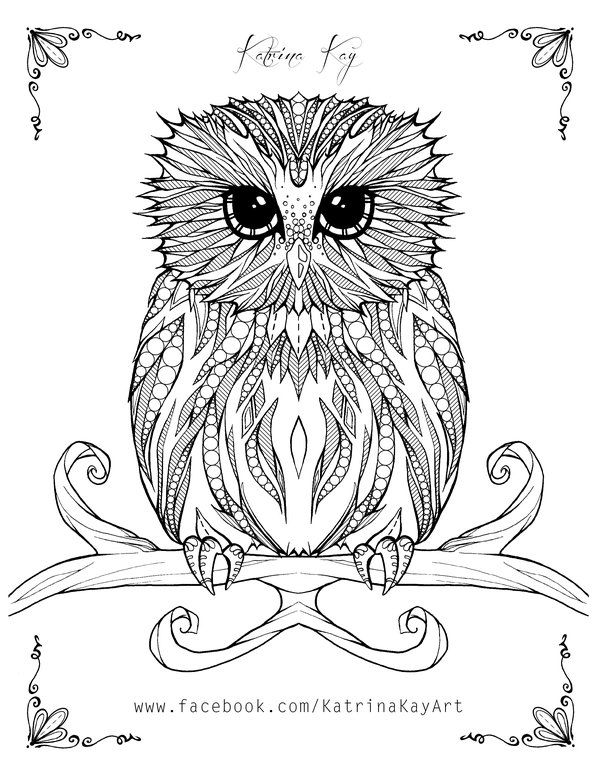Adult Coloring Book Page - Owl by Katoons88 | owls | Pinterest