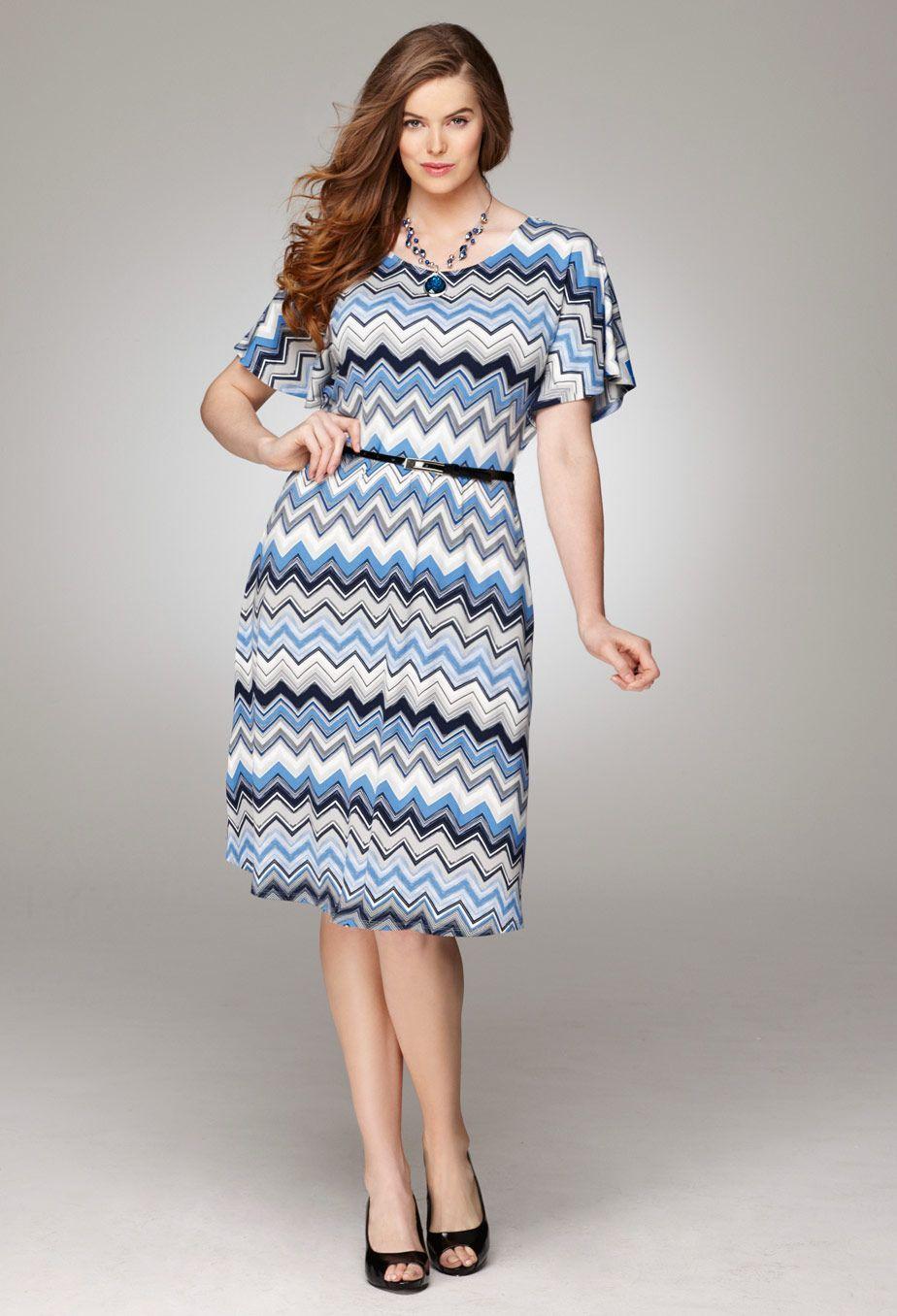 Size Belted Chevron Dress Print