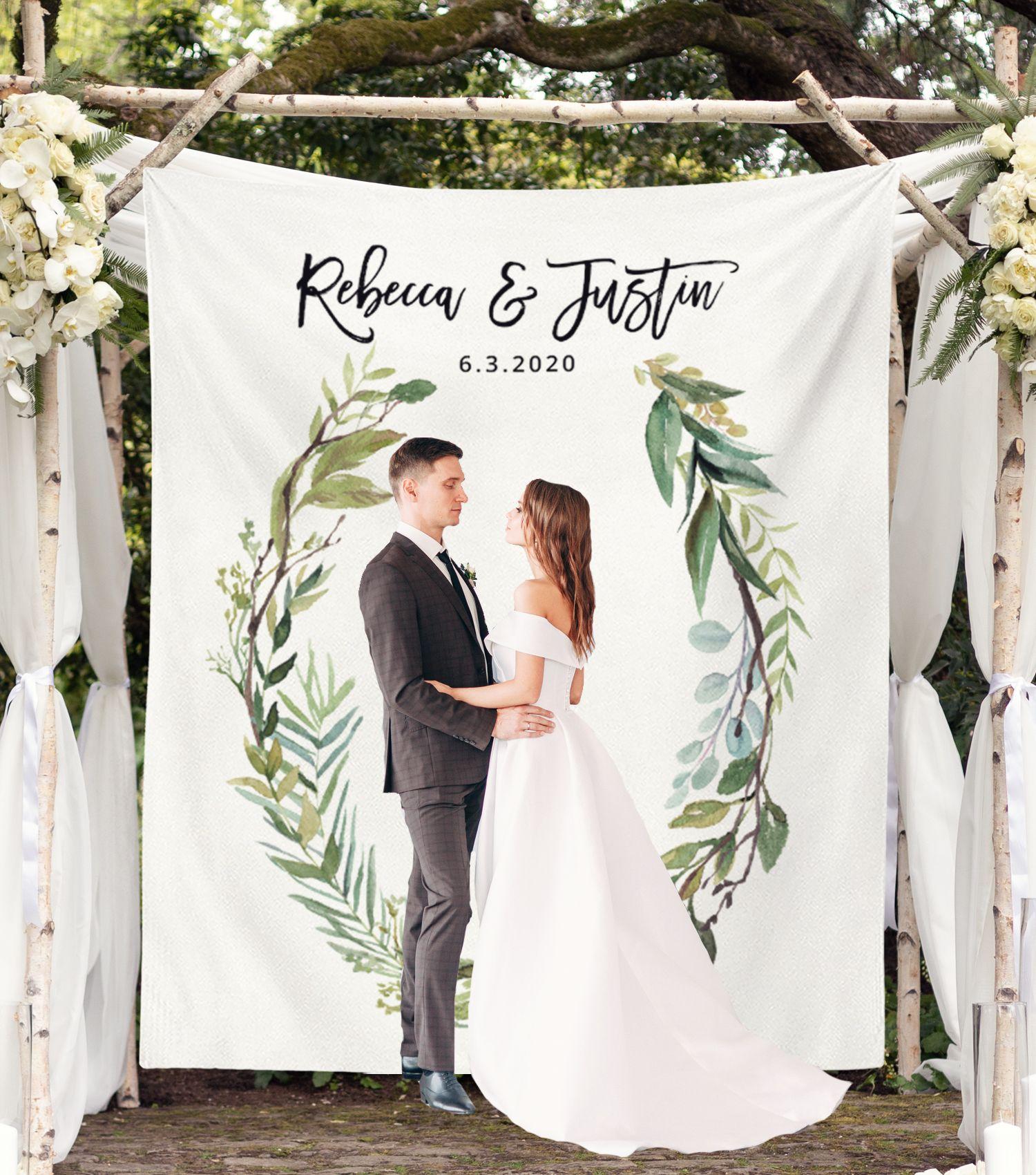Outdoor Wedding Ceremony Whitby: Greenery Wedding Photo Backdrop