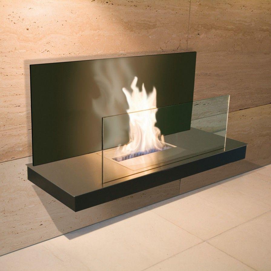 Chimenea de etanol para pared wall flame 2 con cristal - Cristal vitroceramico chimenea ...