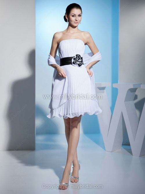 A-line Strapless Chiffon Short/Mini Flower(s) Wedding Dresses ...