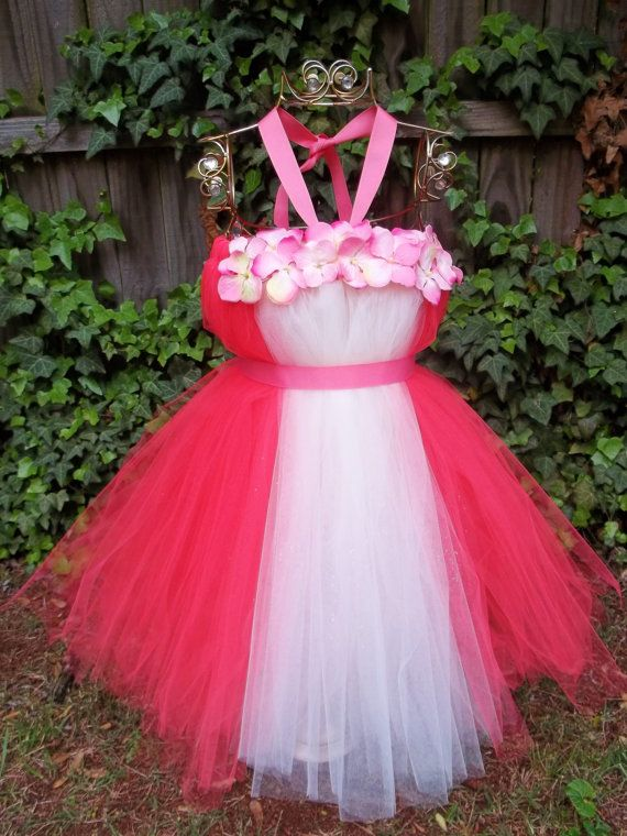 Wedding Flower girl dress/Coral and Ivory by Etsy shop ...