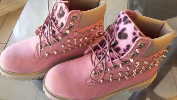 Custom Pink Timberlands by ShoesOfArt on Etsy Pink boots  Pink boots