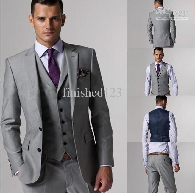 Cheap Customize Slim Fit Groom Tuxedos Groomsmen Light Grey Side ...