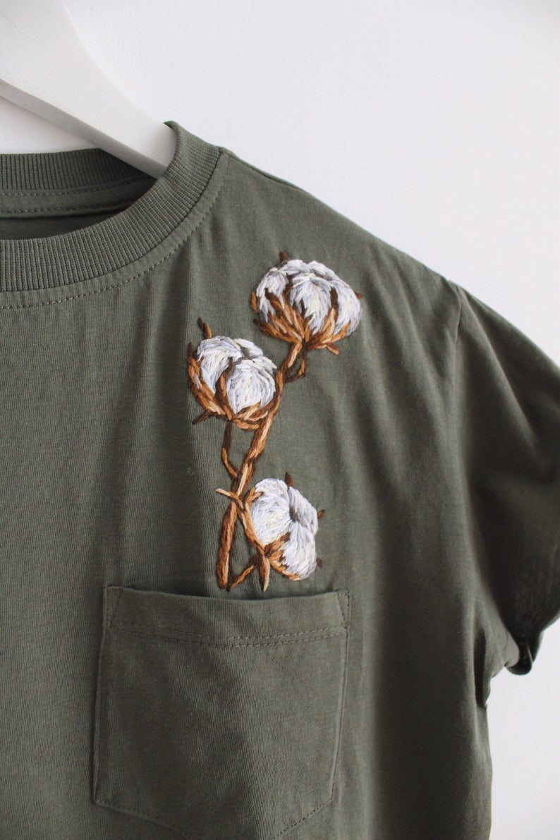Botanical embroidery women's t-shirt clothing floral embroidery custom t-shirt gift for her florist gift cotton flower #floralembroidery
