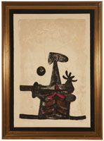Lot# 1168 Rufino Tamayo (1899-1991 Mexican) ''Hombre, Luna Y Estrellas'', color lithograph on paper under Plexiglas, image size: 19.5'' H x 13.5'' W, est: $1500/2000 *Price Realized: $1,250.00