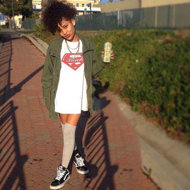 dress tshirt dress jewelry vans knee high socks | High knee