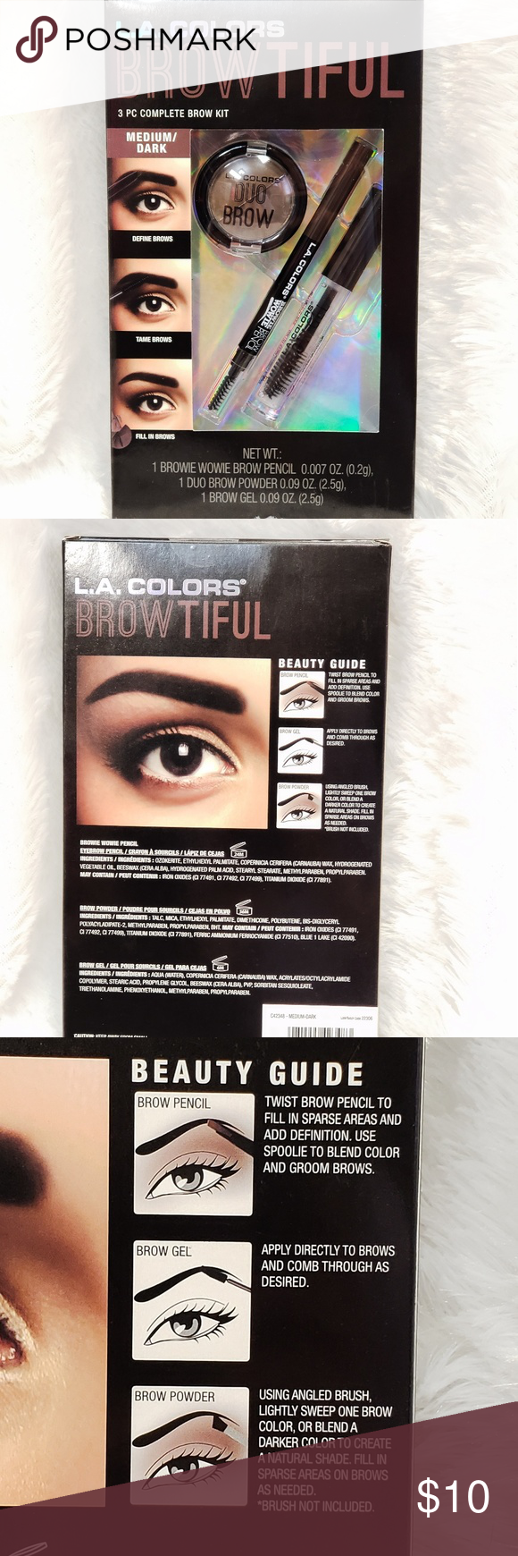 NIB L.A. Colors BROWTIFUL 3pc Complete Brow Set NWT