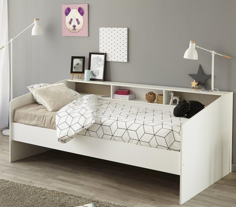 Jugendbett Sleep 90 X 200 Cm Weisses Modernes Design Mit Stauraum Und Ablageflache Zimmer Kinderbett Bett