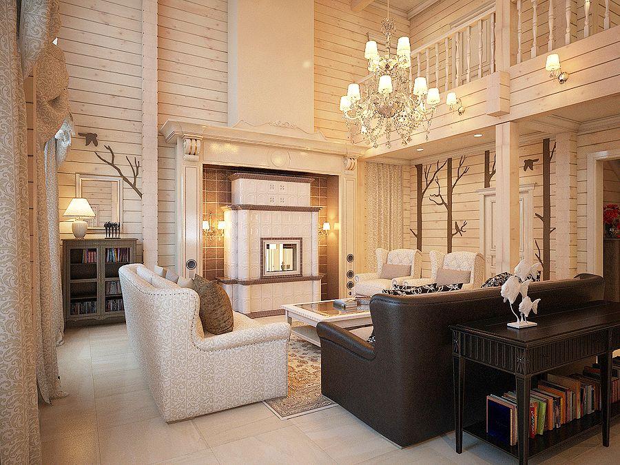 Дизайн проект интерьера деревянного дома от студии Estée