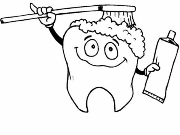 Tooth Brushing Himself In Dental Health Coloring Page Tooth
