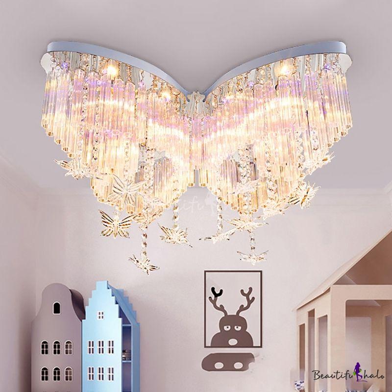 Butterfly Led Chandelier Girls Bedroom Hanging Crystal Flush Mount Light In White In 2020 Crystal Chandelier Bedroom Girls Bedroom Chandelier Chandelier Bedroom
