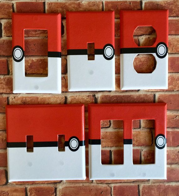 Pokemon Red Pokeball ball Light Switch Power Outlet Wall Cover Plate Home decor