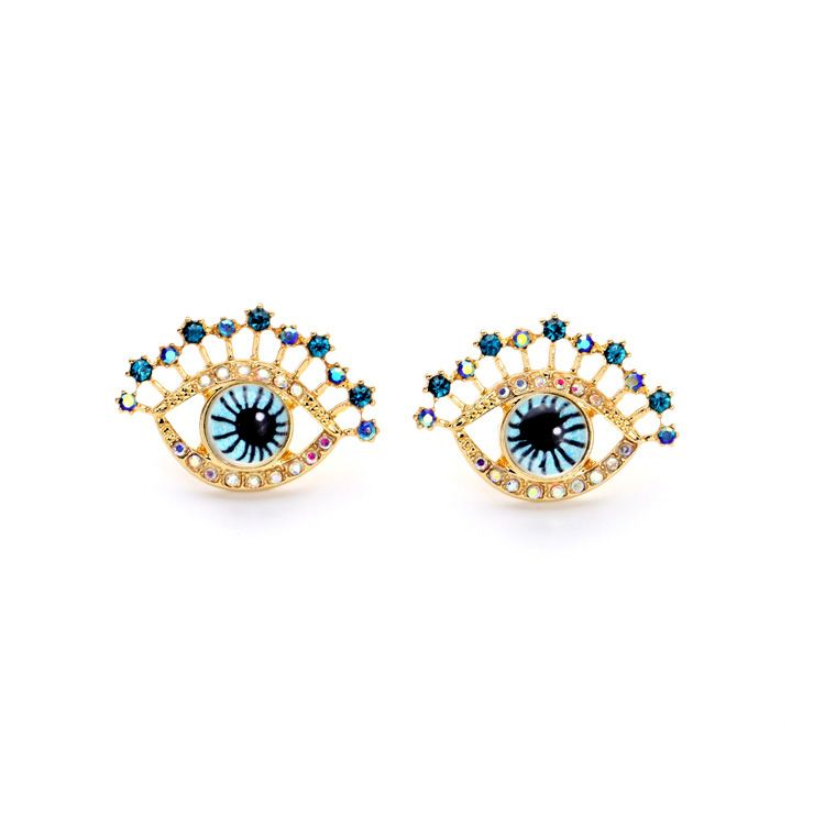 New Womens Earring Bling Blue Doll Eyes Eyelashes Crystal Colorful Stone Gold Alloy Metal Ear