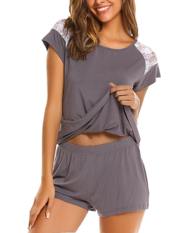 2df44618e9e Women s Pajama Set Sleepwear Ladies 2-Piece Modal Nightwear Short Sets  S-XXL - Gray - C6184T5XW6C