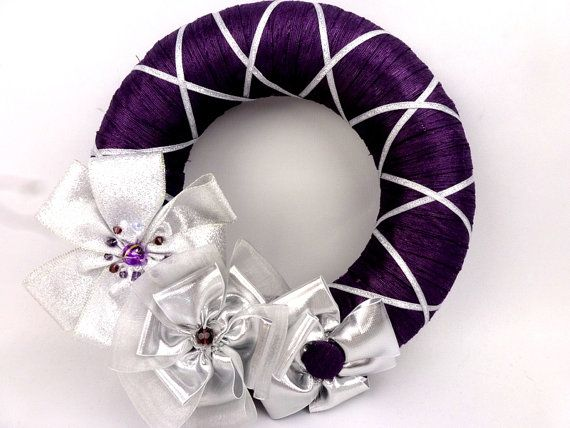 Christmas wreath, purple and silver handmade floral embellished xmas wreath, made in UK christmas decoration, door hanging, floral wreath