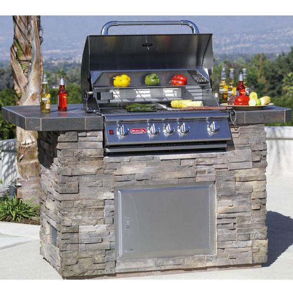 Master q grill island stone grill island outdoor for Outdoor kitchen barbecue grills