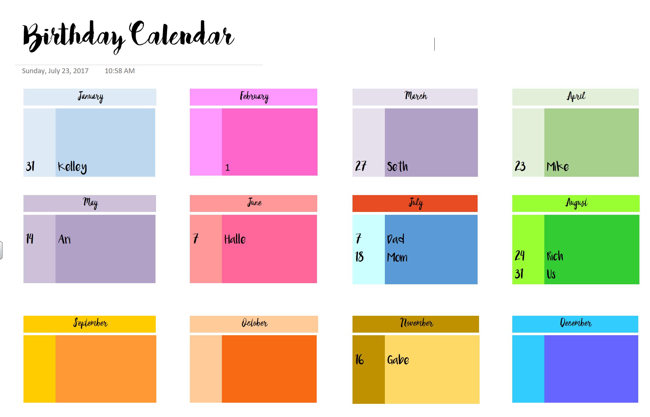 Bullet Journal In Onenote Birthday Calendar Template Things I Love