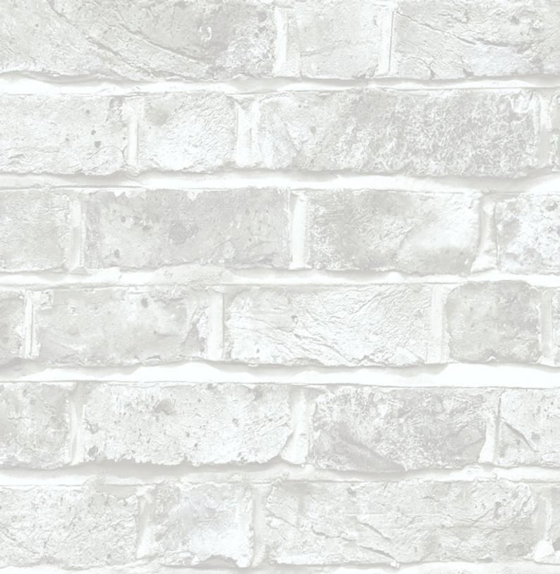 White Brick Peel Stick Wallpaper Gray Stone Kitchen Backsplash Etsy Peel And Stick Wallpaper Stone Backsplash Kitchen Faux Brick