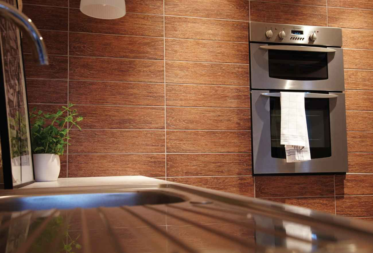 Wall Kithcen Tiles With Teak Wood Effect For The Home