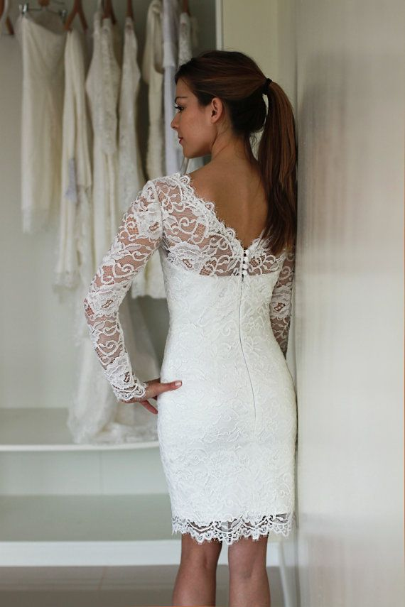 Short Wedding Dress with Sleeves and Illusion Neckline and Illusion Back, Reception Lace Dress, See-through Lace Dress #groomdress