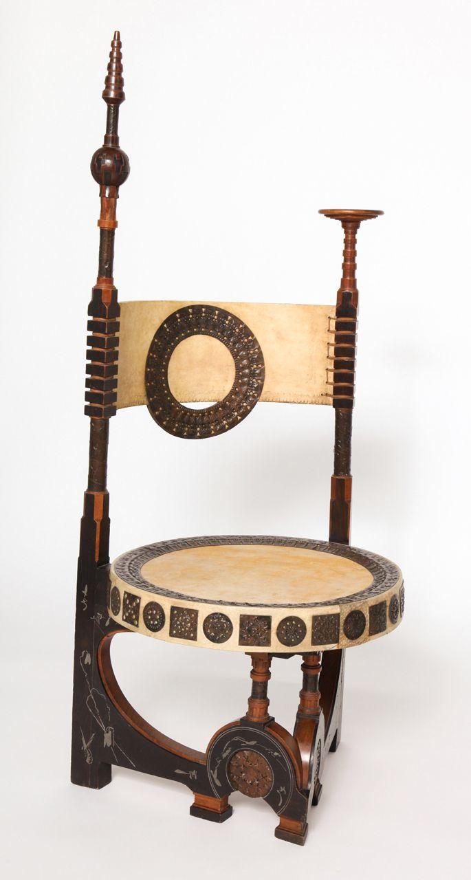 Sedia 1898 (legno, rame, peltro, pergamena) Carlo Bugatti (Milano 1856 - Molsheim Francia 1940)