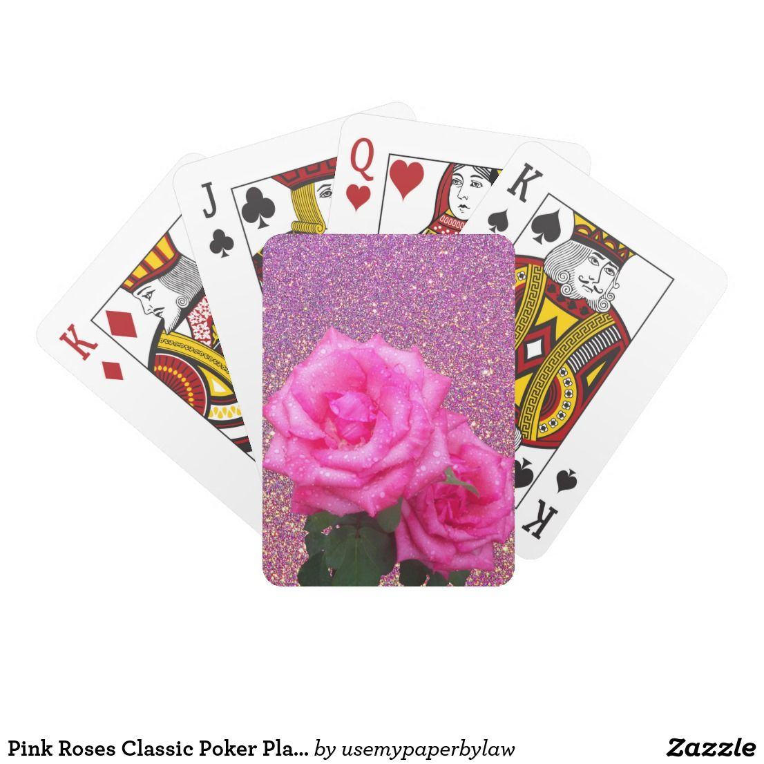 Pink Roses Classic Poker Playing Cards | Use My Paper By Law ...