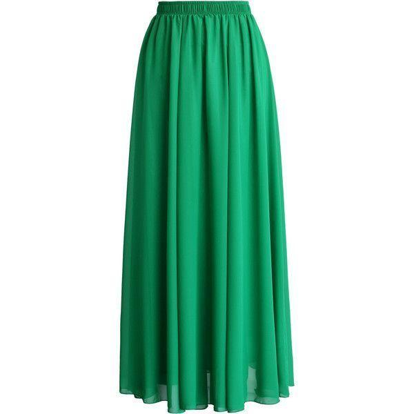 Photo of Chicwish Emerald Green Chiffon Maxi Skirt ($38)  liked on Polyvore featuring   2… – 2019 – Chiffon Diy