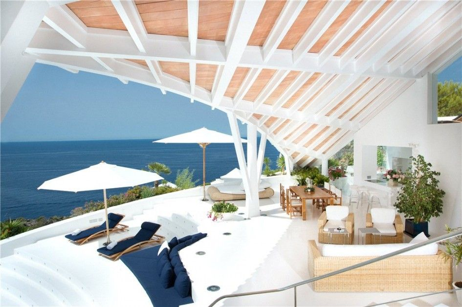 Architecture, Divine Luxury Holiday Villa Known As Alberto Rubio Bird Houses In Cala Marmacen Featuring Architecture Design With Living Room Furniture: Magnificent Luxurious Holiday Villa Renovation in Majorca Overlooking Sea