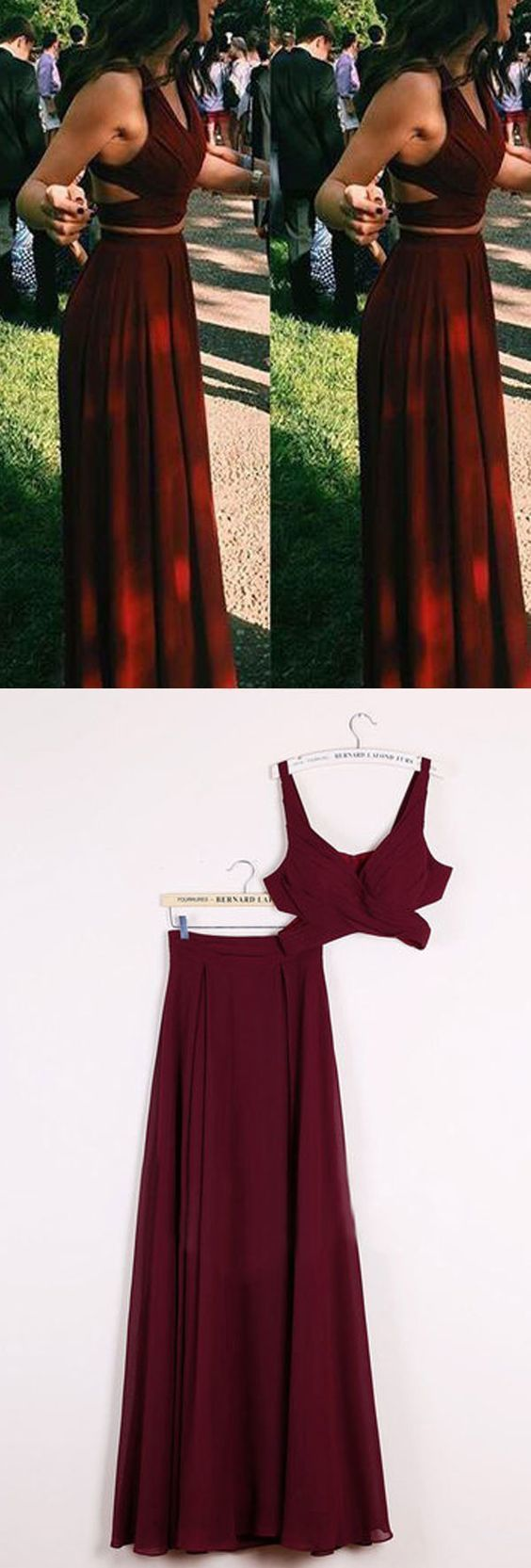 Sexy two piece prom dress burgundy long prom gowns in