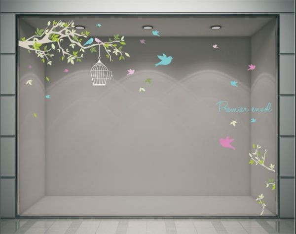 stickers decoration vitrine magasin printemps premier envol cage oiseau bleu rose branche. Black Bedroom Furniture Sets. Home Design Ideas