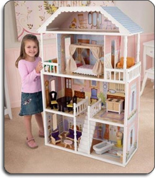 Barbie Size Dollhouse Furniture Girls Playhouse Dream Play Wooden Doll House NEW #BarbieSizeDollhouse