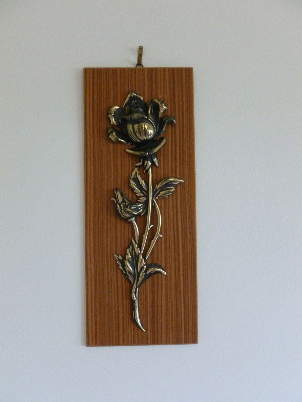 Vintage mid century modern rose wall plaque vintage wall art