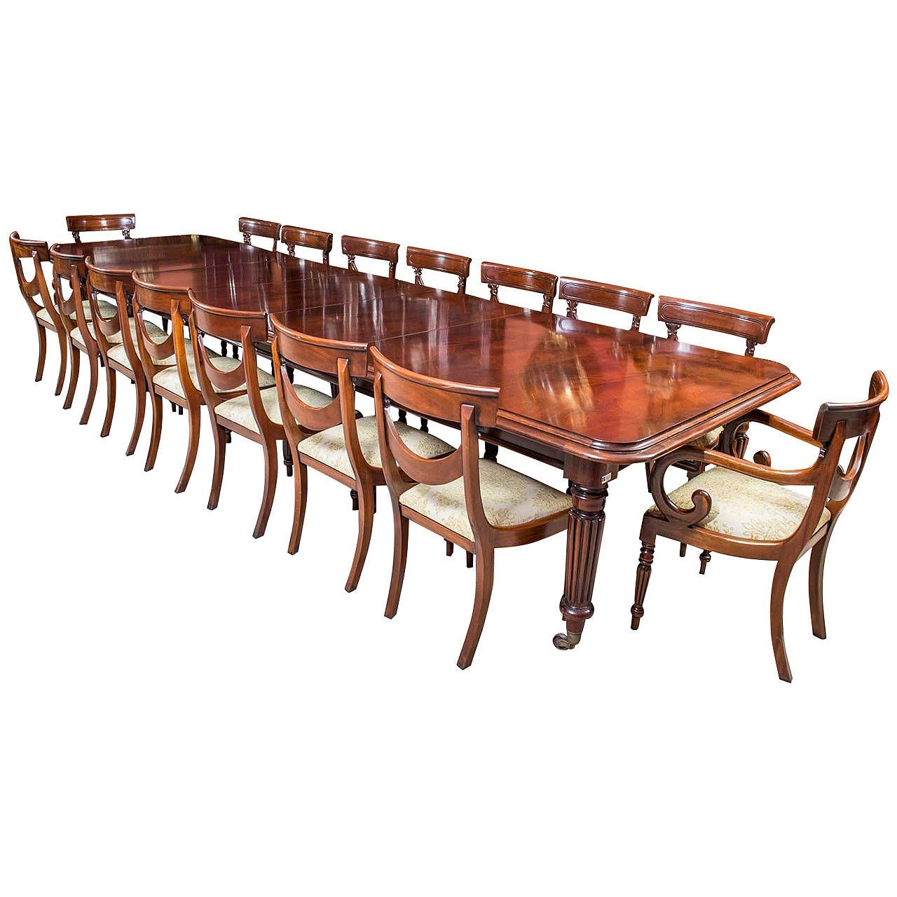 Vintage Mahogany Dining Conference Table 16 Chairs Table Mahogany Dining Table Table And Chair Sets